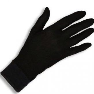 Jasmine Silk guantes de seda puras térmicas Guantes del ciclo Liner Guante Interior Ski Bike Negro